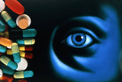 Sleep Disorder Photograph - Illustration Of An Eye, With Pills Superimposed by David Gifford