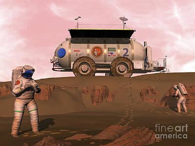 Eva Digital Art - Illustration Of Astronauts Examining An by Walter Myers