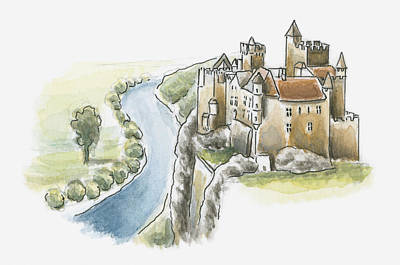 Illustration Of Chateau De Beynac, Beynac-et-cazenac, Dordogne, France Art Print