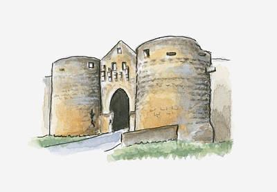 Medieval Entrance Digital Art - Illustration Of Porte Des Tours, Domme, Dordogne, France by Dorling Kindersley