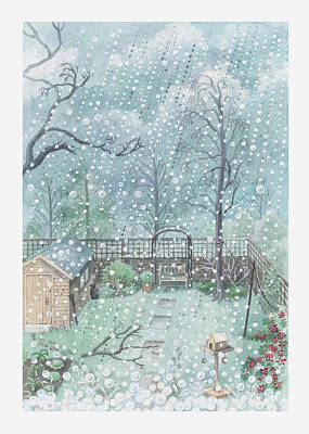 Illustration Of Rain Or Wet Snow Against A Window Looking Out Onto A Garden Art Print by Dorling Kindersley