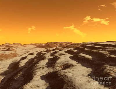 Plateau Digital Art - Illustration Of Terraced Terrain by Ron Miller