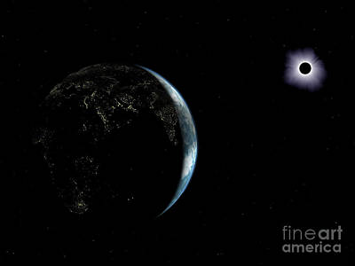 Solar Eclipse Digital Art - Illustration Of The City Lights by Walter Myers
