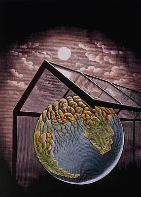 Illustration Of The Greenhouse Effect Art Print