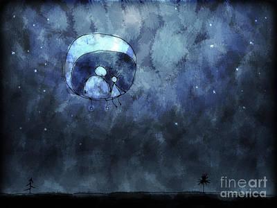Cartoon Alien Digital Art - Illustration Of Two People Sitting by Vlad Gerasimov