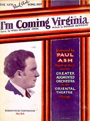 Old Sheet Music Photograph - I'm Coming Virginia by Mel Thompson