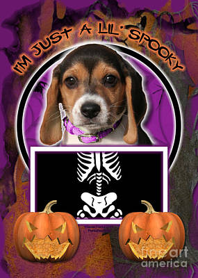I'm Just A Lil' Spooky Beagle Puppy Art Print by Renae Laughner