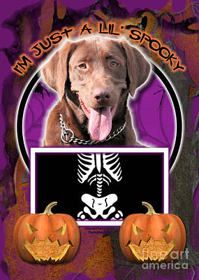 Chocolate Labrador Retriever Digital Art - I'm Just A Lil' Spooky Labrador by Renae Laughner