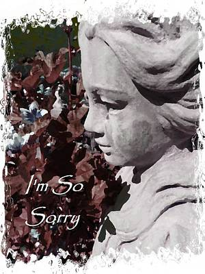 Cindy Wright Photograph - I'm So Sorry Angel Card by Cindy Wright