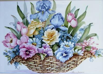 Image 1119 Flower Basket Art Print by Wilma Manhardt