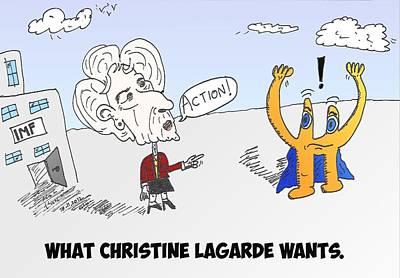 Financial Mixed Media - Imf Vs. Euro Caricature by OptionsClick BlogArt