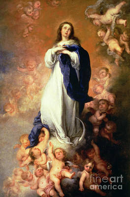 Rising Painting - Immaculate Conception Of The Escorial by Esteban Murillo