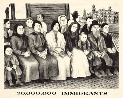 Immigrants. Shows A Group Of Immigrants Art Print by Everett