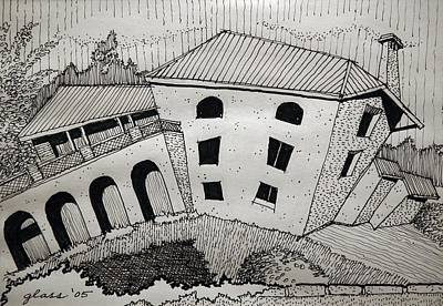 Abandoned House Drawing - Impression Abandoned House Portugal by Lester Glass