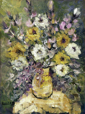 Painting - Impression Of Flowers Bouquet Yellow Vase On White Table Purple Flowers Green Background Stained   by Rachel Hershkovitz