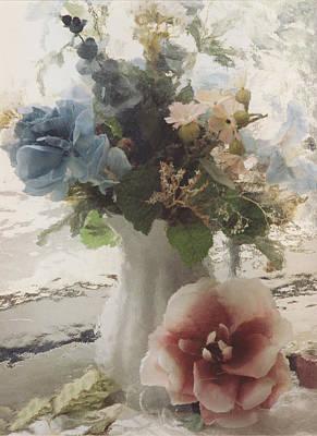 Vintage Floral Impressionistic Blue And Pink Floral Vase  Art Print