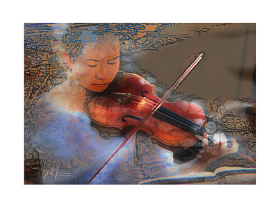 Violin Mixed Media - Improvisation by Bob Salo