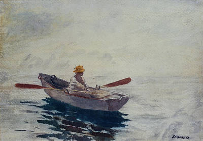 On Paper Painting - In A Boat by Winslow Homer