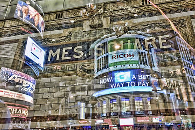 In-camera Multiple Exposure Of Screens And Subway Tile In Times Square, New York, New York, Usa, 3 July 2010 Art Print by John Nordell