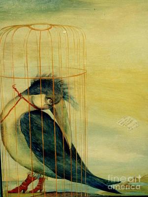 Painting - In Golden Cage by Karin Zukowski