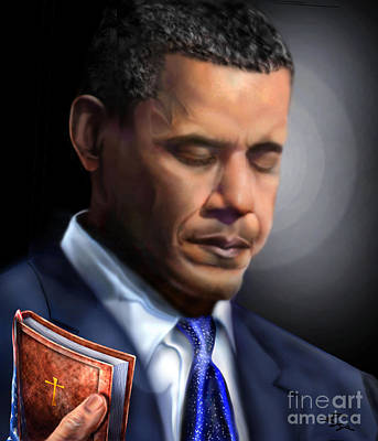 Barack Obama Painting - In Jesus Christ Name by Reggie Duffie