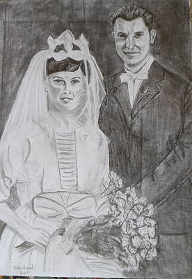 Drawing - In-laws Wedding Day 1961 by Brian Hustead