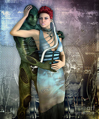Digital Art - In Love With An Alien by Jutta Maria Pusl