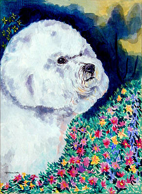 Bichon Frise Dog Painting - In Mom's Flowers - Bichon Frise by Lyn Cook