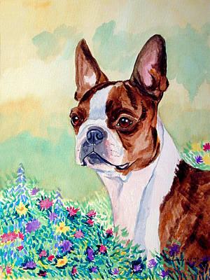 Boston Terrier Painting - In Mom's Flowers - Boston Terrier by Lyn Cook