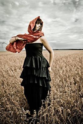 In Mourning Red Art Print by Olga Leszczynska
