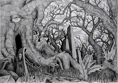 Drawing - in my garden II by Mariusz Zawadzki