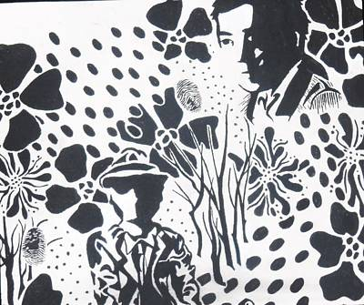 Fingerprint Drawing - In The Dark by Nicole Zoe Miller