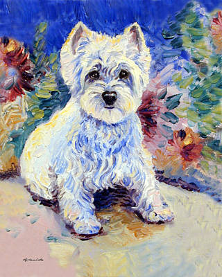 West Highland Painting - In The Garden - West Highland Terrier by Lyn Cook