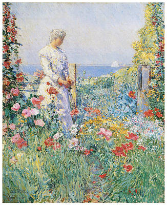 In The Garden Art Print by Frederick Childe Hassam