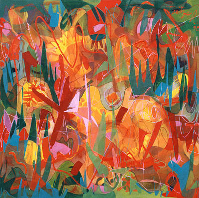 Abstract Painting - In The Garden by Lynne Taetzsch