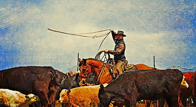 Working Cowboy Digital Art - In The Herd by Susie Fisher