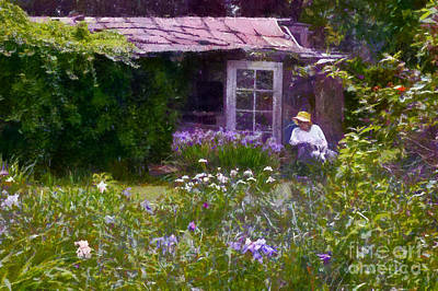 In The Iris Garden Art Print by Susan Isakson