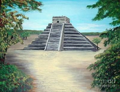 Chichen Itza Painting - In The Mayan Jungle by Alys Caviness-Gober