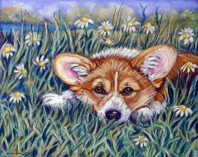 Pastel Dog Painting - In The Meadow Of Daisies by Lyn Cook