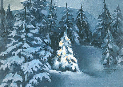 Snow Scene Digital Art - In The Spotlight by Arline Wagner