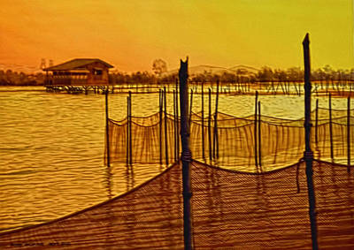 Bamboo Farm Painting - In The Still Of The Dawn by Andre Salvador