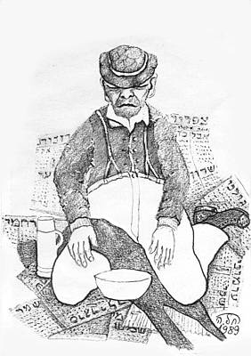 Painting - In The Street  Beggar With Money Bowl Sitting On Newspapers  In Worn Out Cloths And An Old Hat  by Rachel Hershkovitz