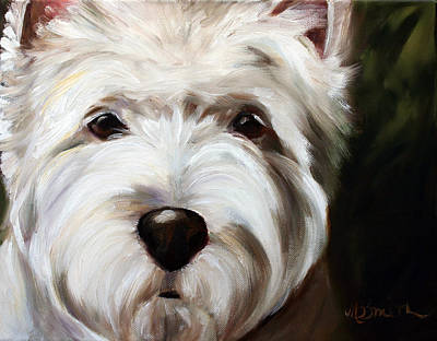 Puppy Painting - In Your Face by Mary Sparrow
