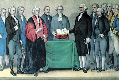 Swearing In Photograph - Inauguration Of George Washington, 1789 by Photo Researchers