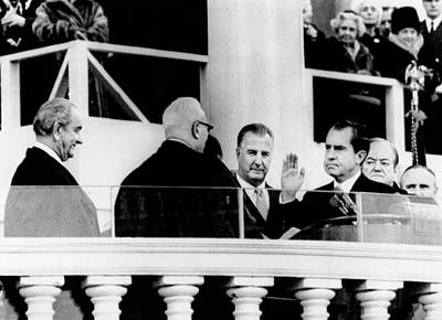 Swearing In Photograph - Inauguration Of Richard Nixon. L-r by Everett