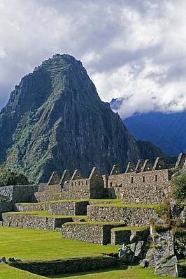 Inca Structures Stand Below Mount Art Print by Gordon Wiltsie
