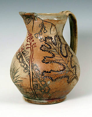 Wheelthrown Ceramic Art - Incised Pitcher With Pokeberries And Oak Leaf by Patty Sheppard