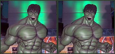 The Incredible Hulk Photograph - Incredible - Gently Cross Your Eyes And Focus On The Middle Image by Brian Wallace