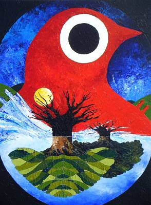 Tree With Eye Painting - Incubation by Harold Bascom