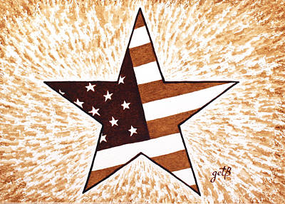 Independence Day Star Usa Flag Coffee Painting Art Print by Georgeta  Blanaru